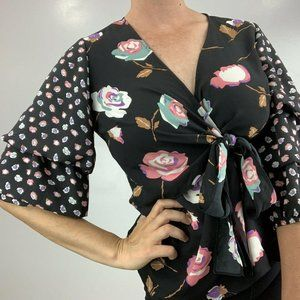 Relativity Rose Black Floral Wrap Front Top